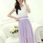 ชุดเดรสยาวสีม่วง เสื้อปักลายดอกไม้ กระโปรงผ้าชีฟอง น่ารัก แฟชั่นเกาหลี ไซส์M