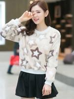 เสื้อแฟชั่นเกาหลี เสื้อแขนยาวน่ารักๆ สีเบจ ลายน่ารักๆ ผ้าขนนุ่มสบาย คอกลม แขนยาว