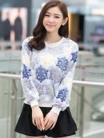 เสื้อแฟชั่นเกาหลี เสื้อแขนยาวน่ารักๆ สีฟ้า ผ้าขนนุ่มสบาย คอกลม แขนยาว