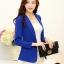 เสื้อสูททำงาน เบลเซอร์ สีน้ำเงิน ทรงเข้ารูป คอปก แขนยาว size L